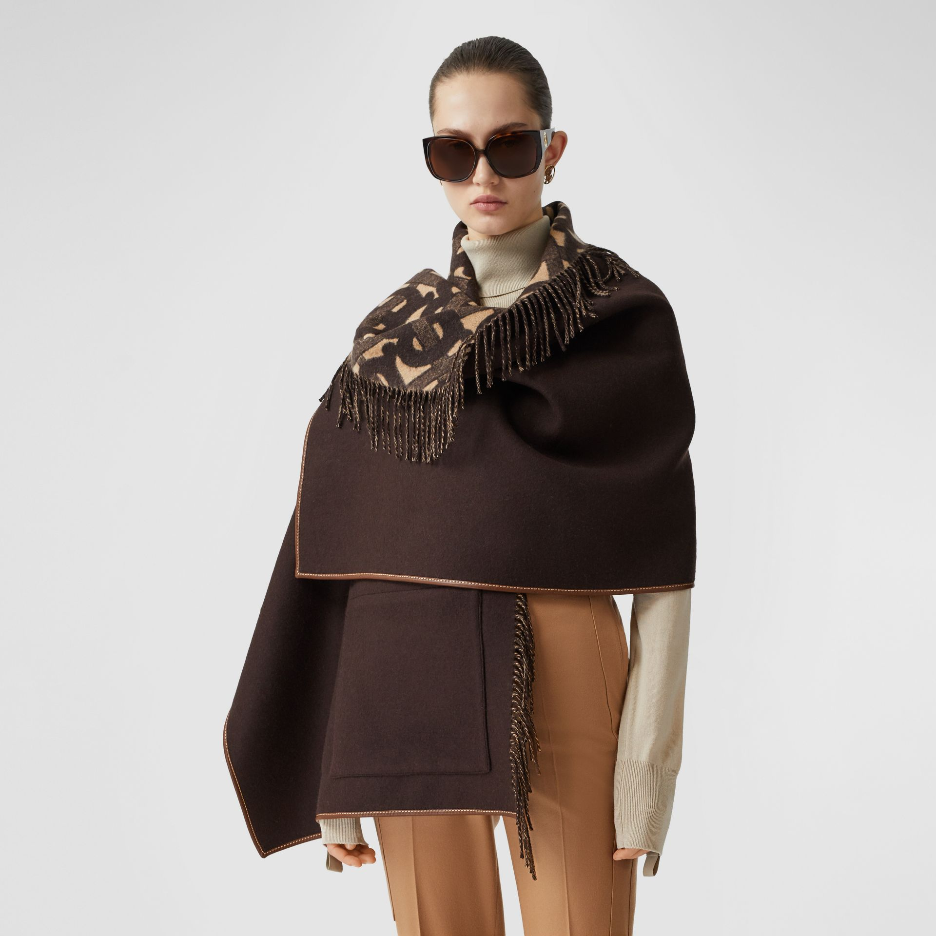 Monogram Merino Wool Cashmere Jacquard Cape in Deep Brown - Women | Burberry United Kingdom - gallery image 4