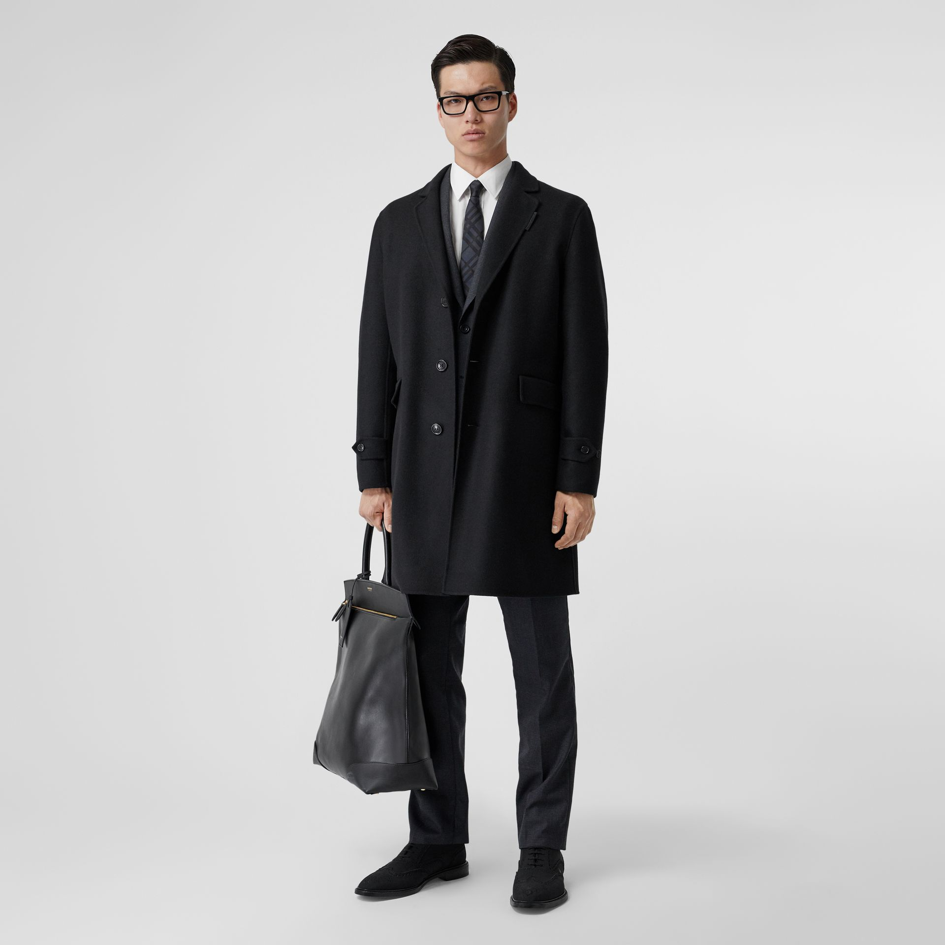Wool Cashmere Lab Coat in Black - Men | Burberry - gallery image 0