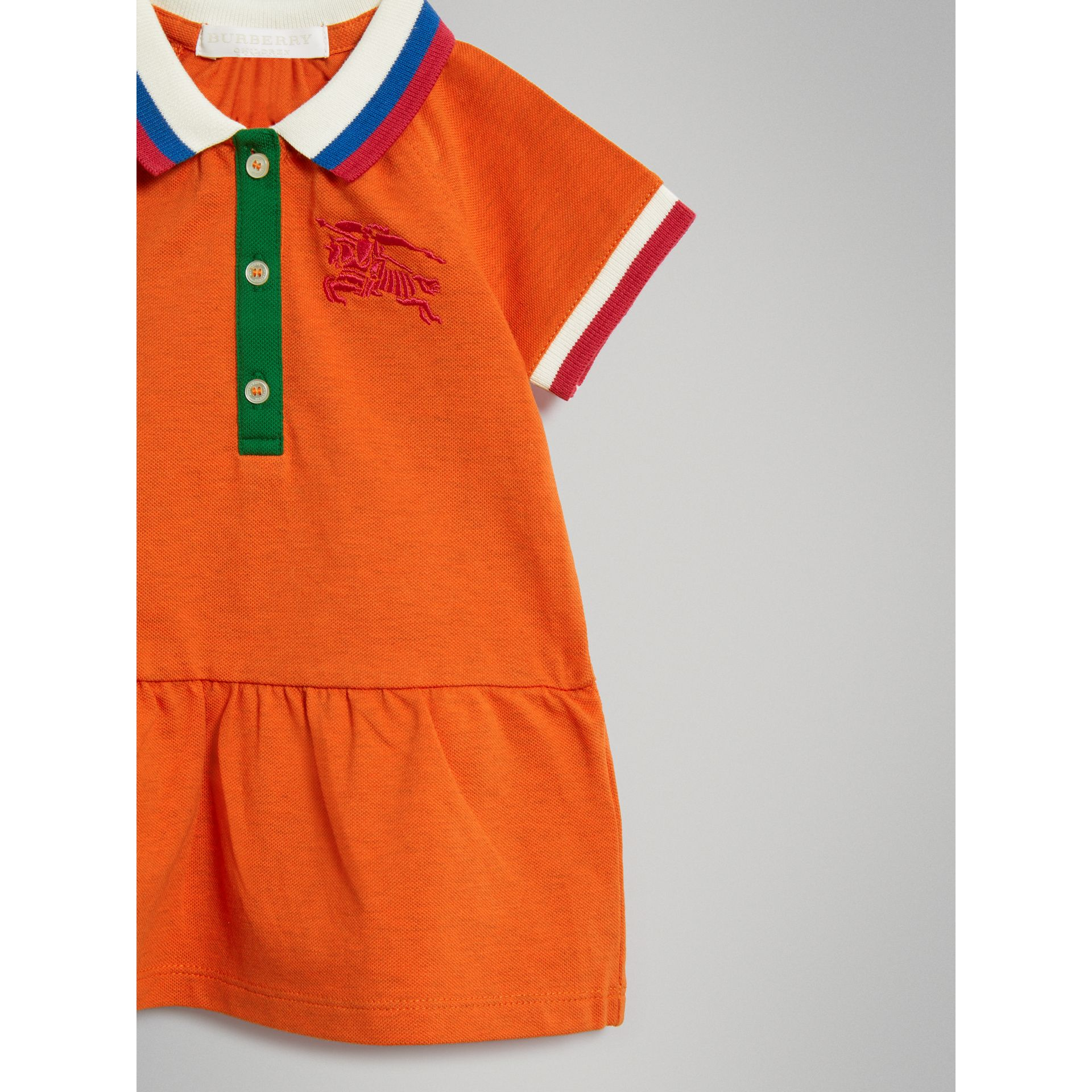 Stretch Cotton Polo Dress in Bright Clementine Melange - Children | Burberry - gallery image 4