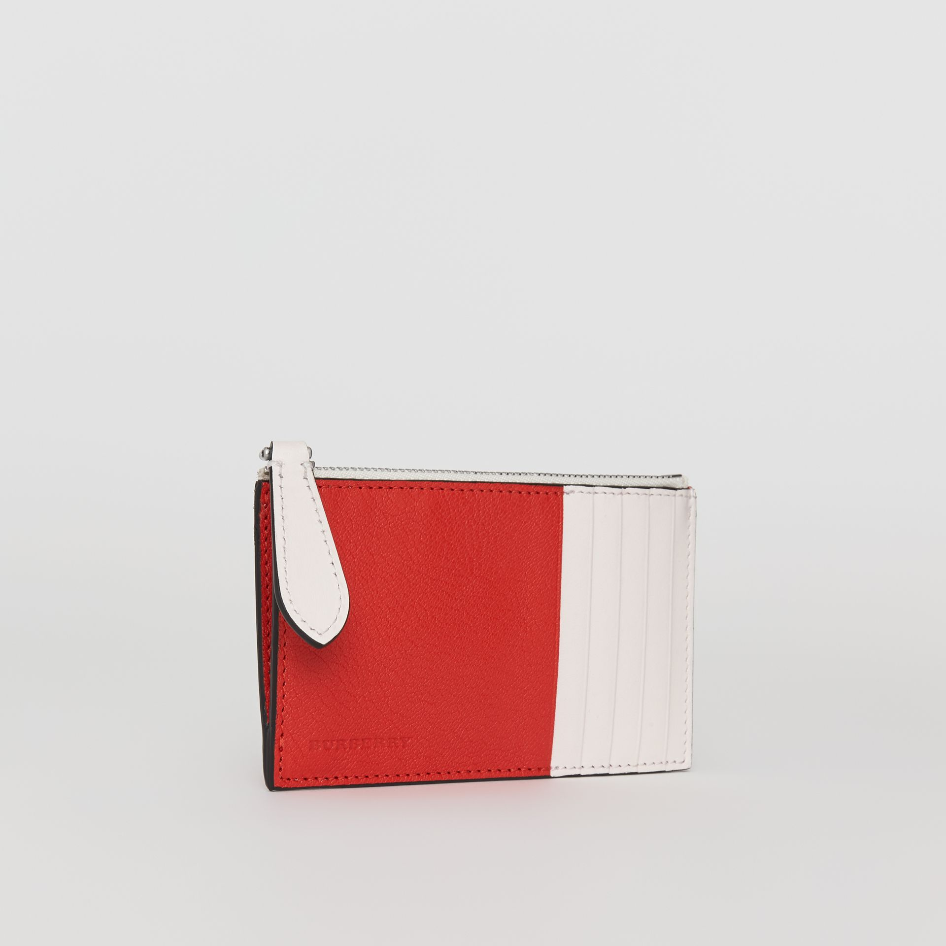 Two-tone Leather Zip Card Case in Bright Red | Burberry United States - gallery image 4