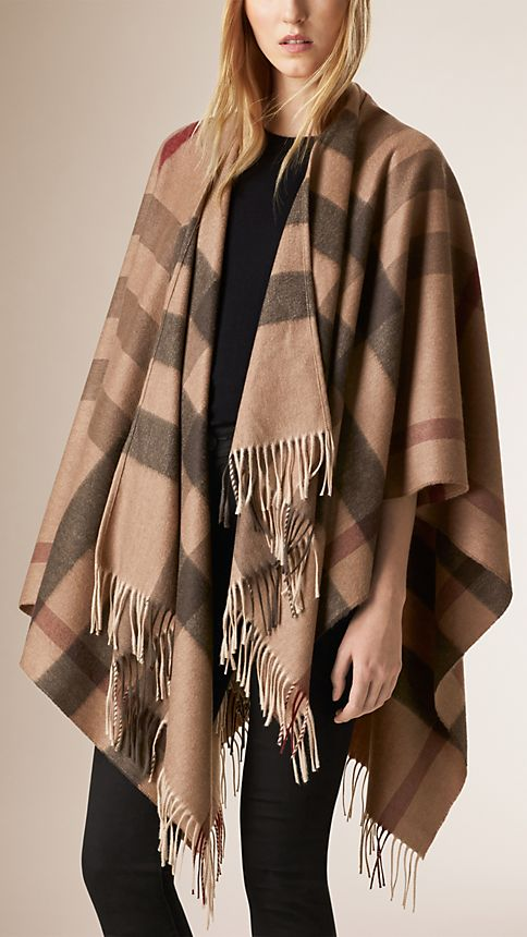 Smoked trench check Check Wool and Cashmere Poncho - Image 1