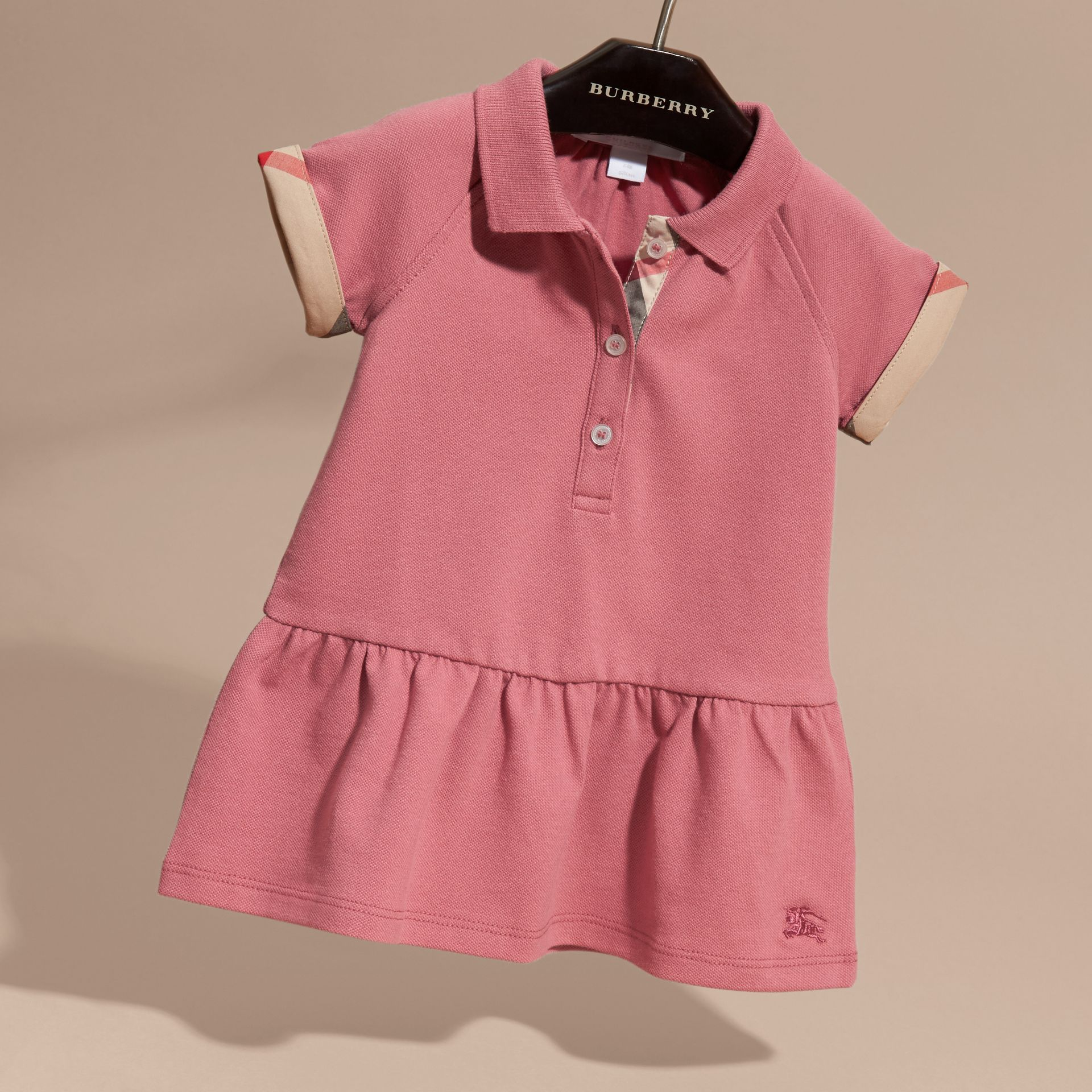Check Detail Stretch Cotton Piqué Dress Pink Azalea - gallery image 3