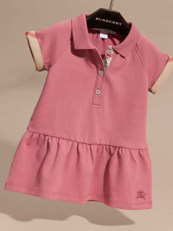 Check Detail Stretch Cotton Piqué Dress Pink Azalea - cell image 2