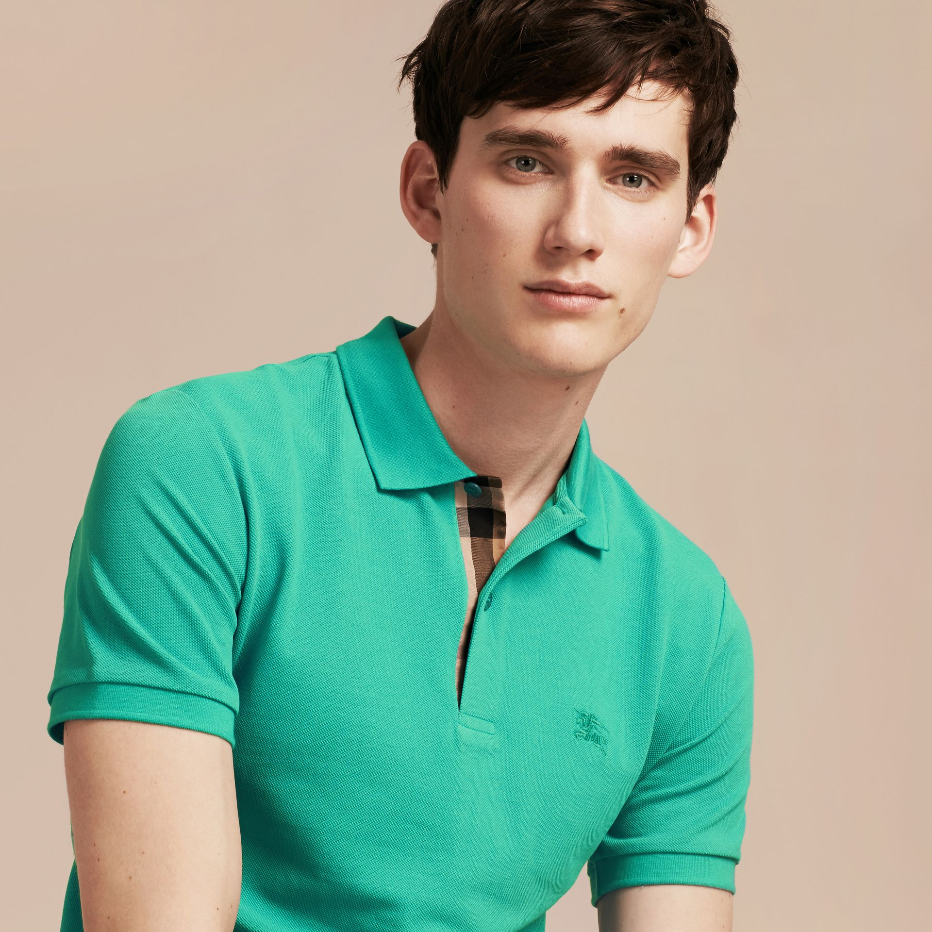 Cyan green Check Placket Cotton Piqué Polo Shirt Cyan Green - gallery image 5