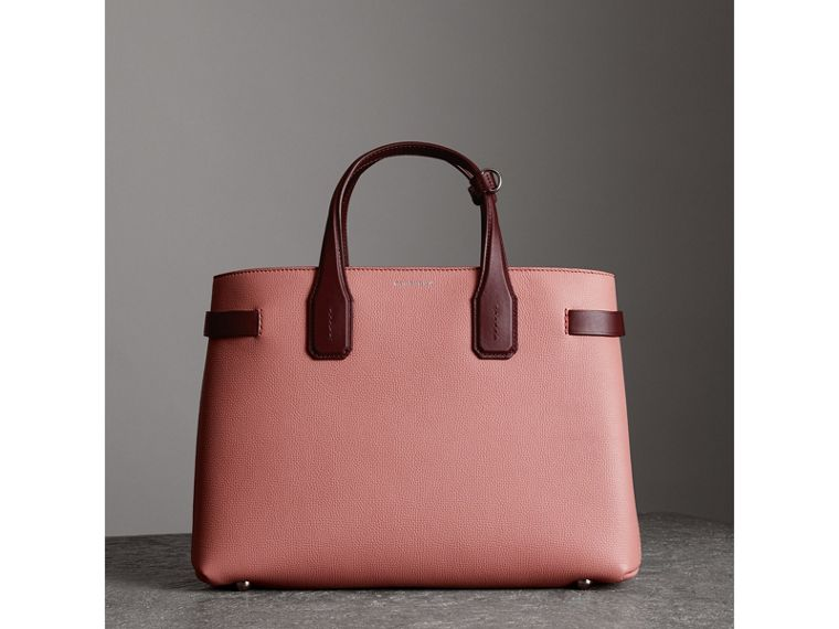 Sac The Banner moyen en cuir bicolore (Rose Cendré/bordeaux Intense) - Femme | Burberry - cell image 4