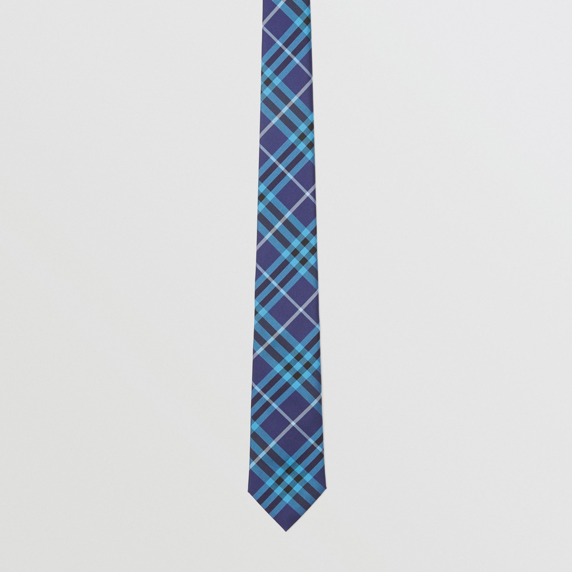 Slim Cut Check Silk Tie in Bright Navy - Men | Burberry - gallery image 3