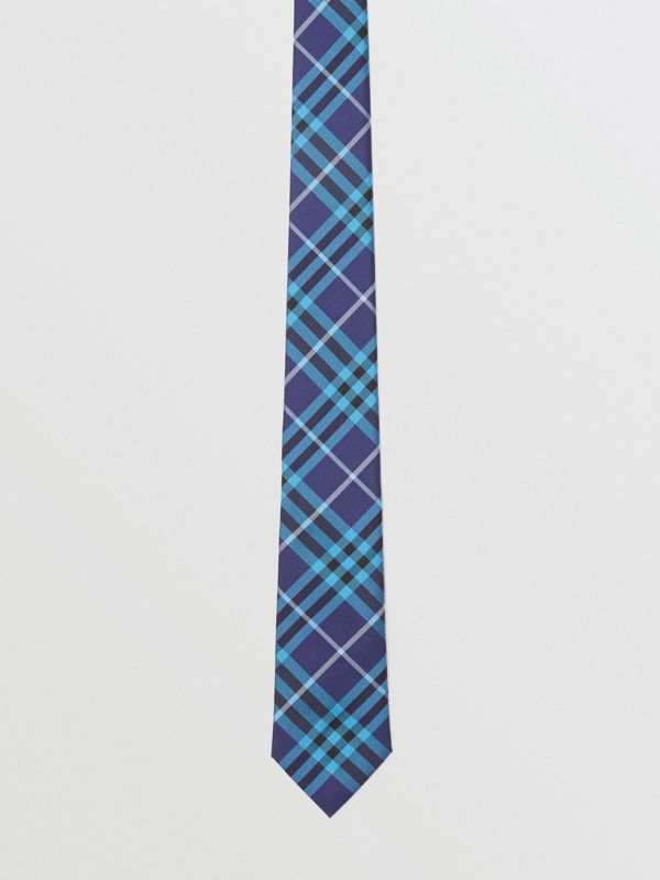 Slim Cut Check Silk Tie in Bright Navy - Men | Burberry - cell image 3