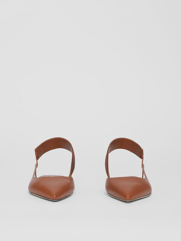 Logo Detail Leather Slingback Flats in Tan - Women | Burberry - cell image 3