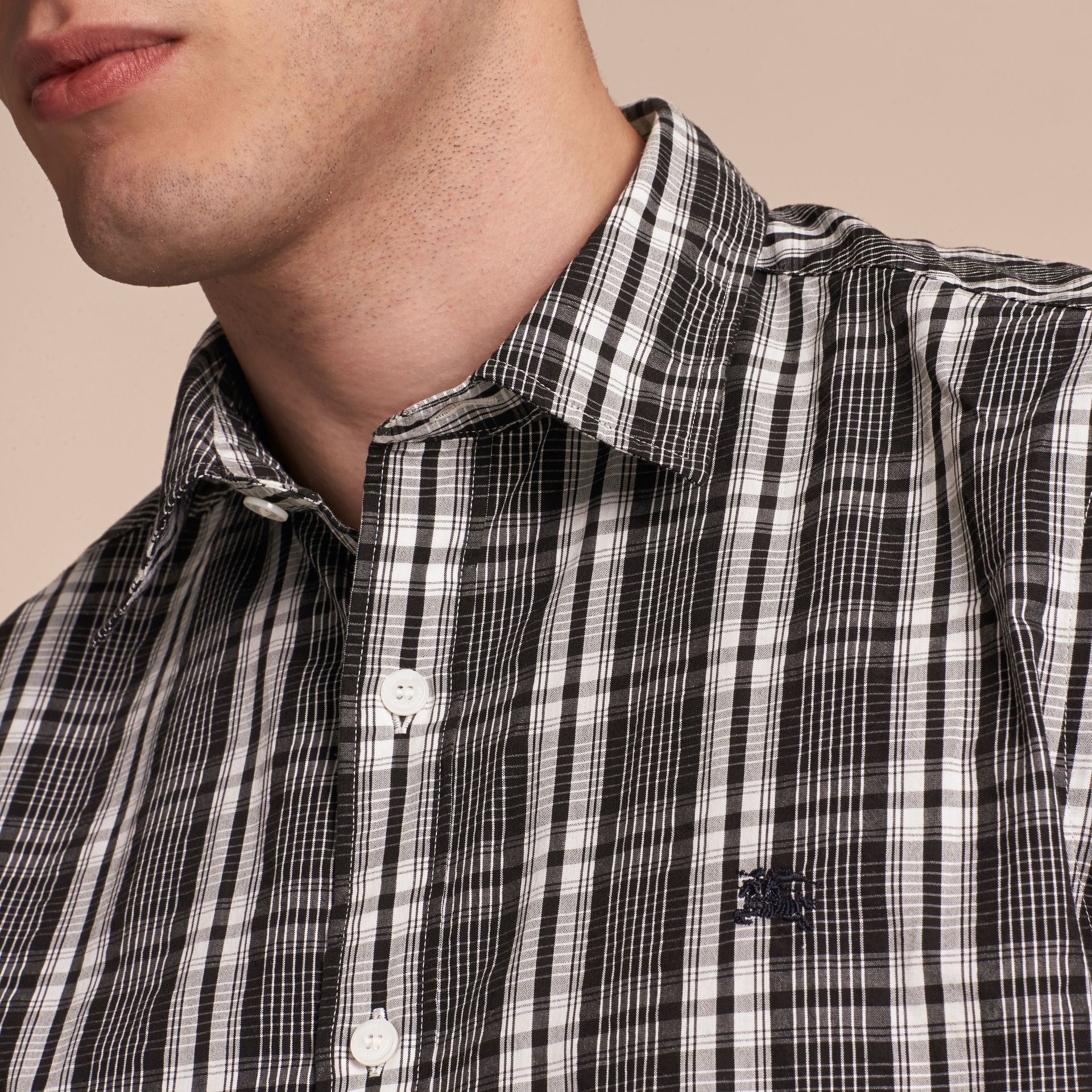Short-sleeved Check Cotton Poplin Shirt - gallery image 5