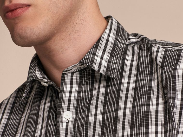 Short-sleeved Check Cotton Poplin Shirt - cell image 4