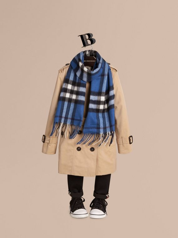 Cadet blue The Mini Classic Cashmere Scarf in Check Cadet Blue - cell image 2