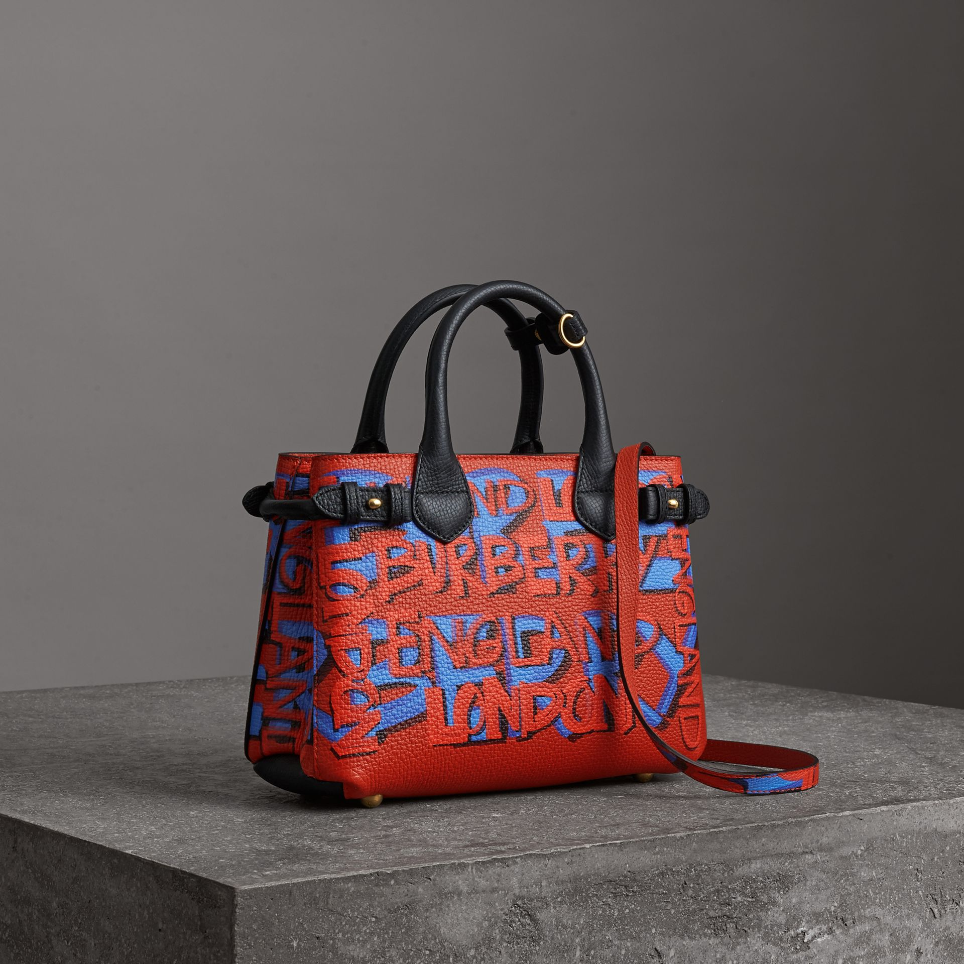 The Small Banner in Graffiti Print Leather in Black - Women | Burberry - gallery image 0