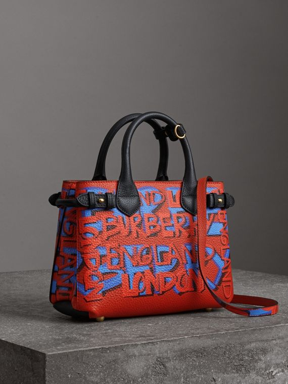 The Small Banner in Graffiti Print Leather in Black