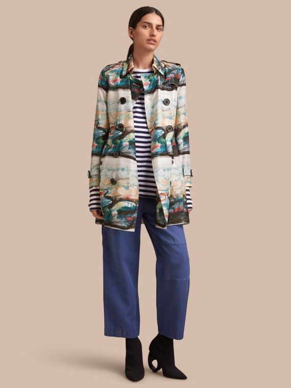 Reclining Figure: Bunched Print Silk Trench Coat