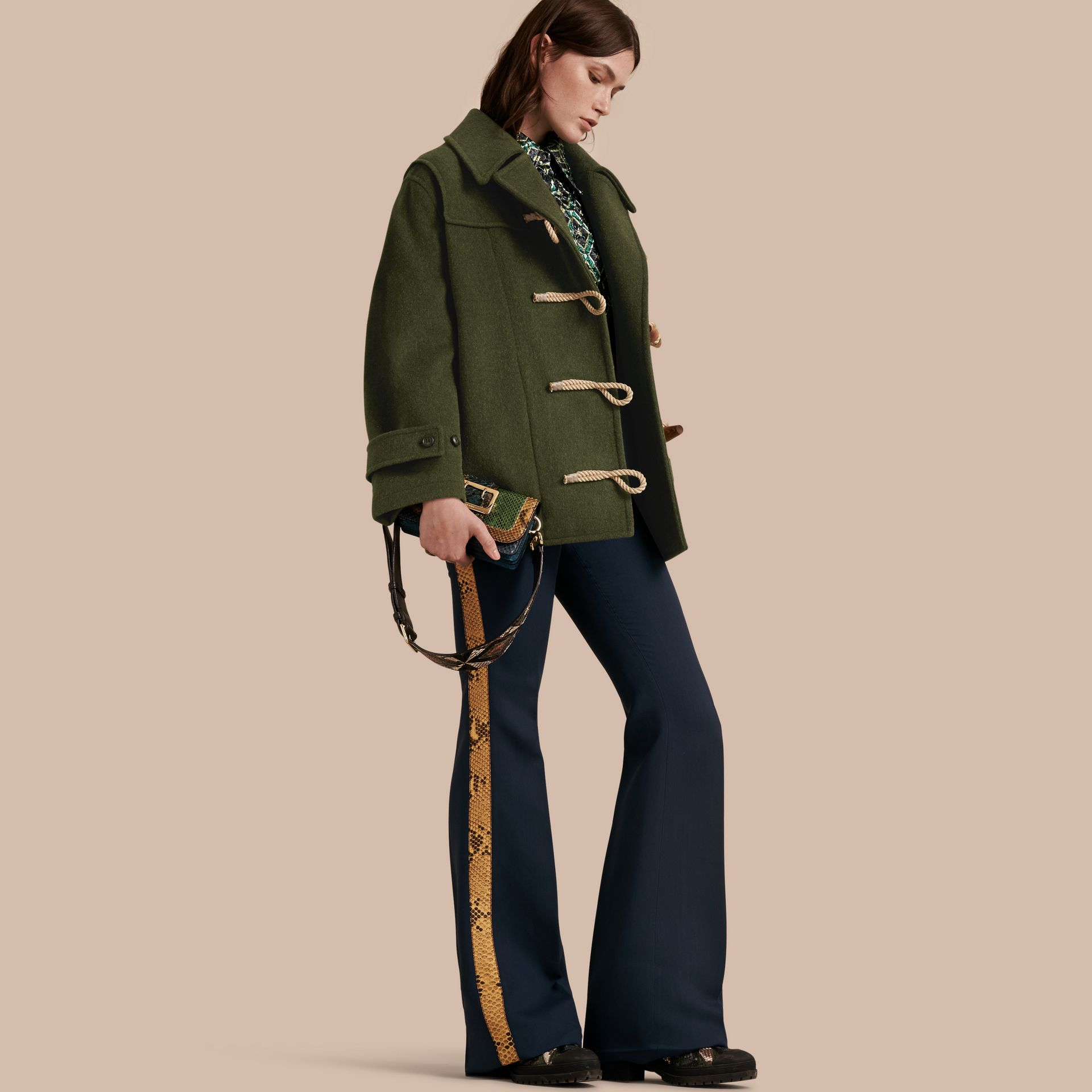 Moss green Military Wool Duffle Coat - gallery image 1