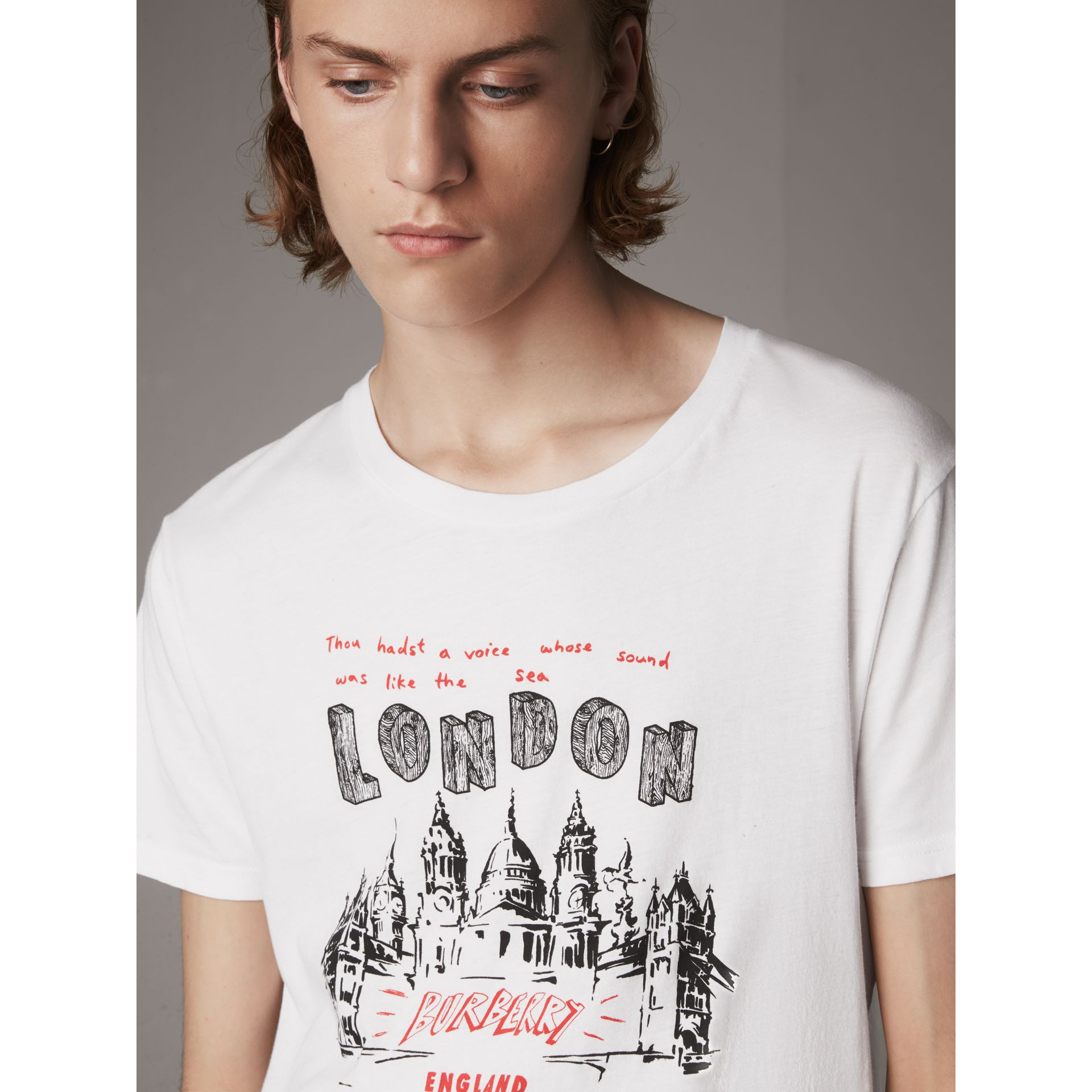 London Skyline Print Cotton T-shirt in White - Men | Burberry - gallery image 1