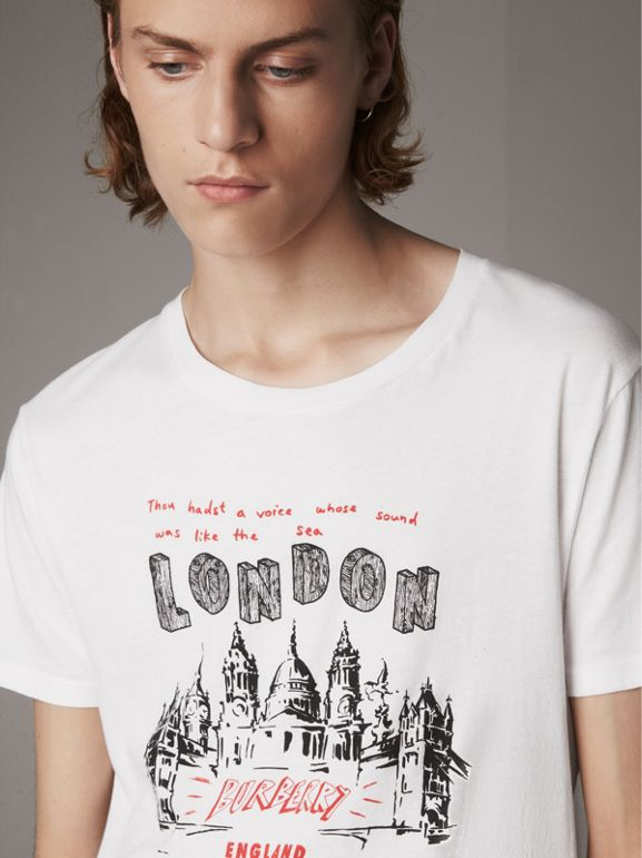 London Skyline Print Cotton T-shirt in White - Men | Burberry - cell image 1