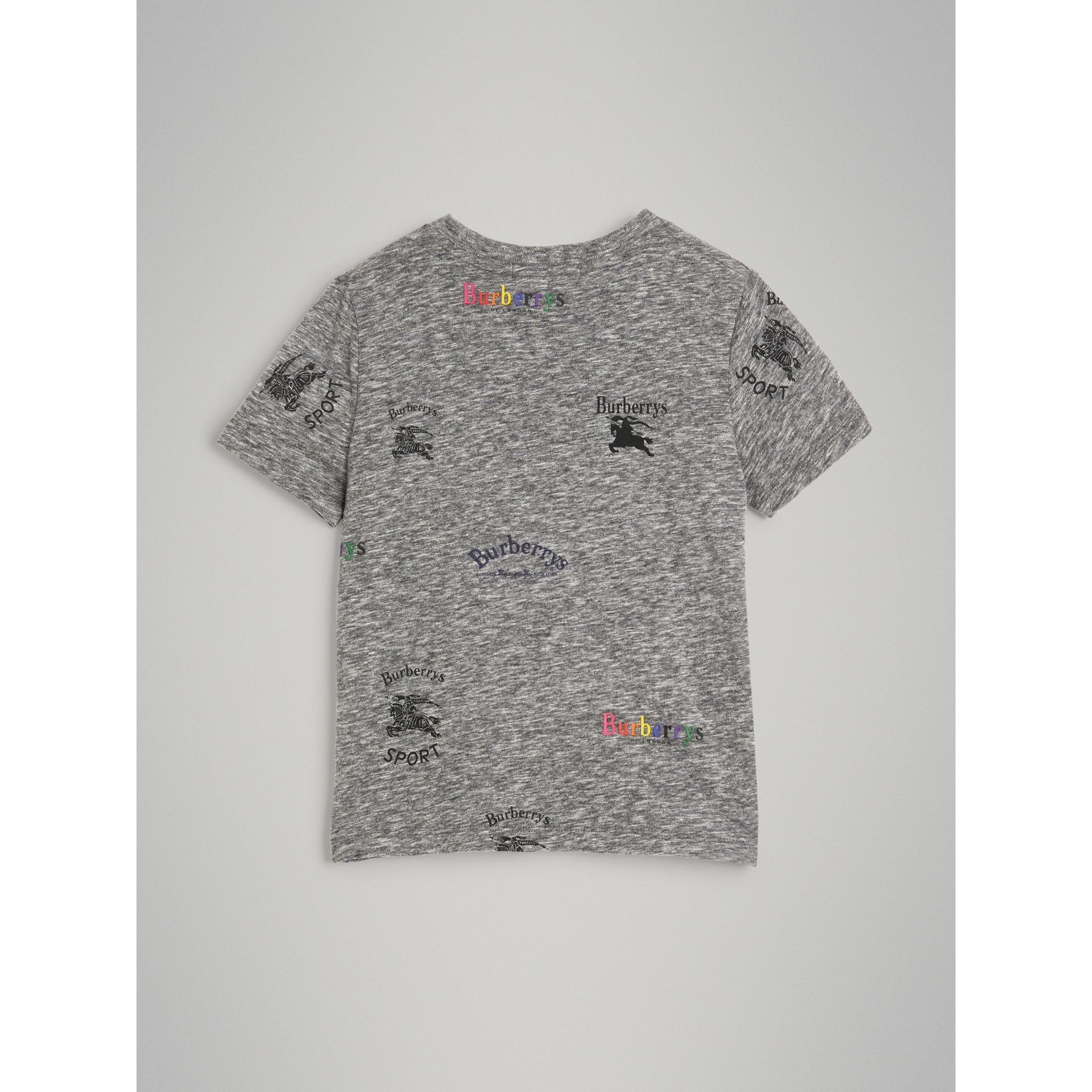 Archive Logo Print Jersey T-shirt in Grey Melange - Boy | Burberry - gallery image 3