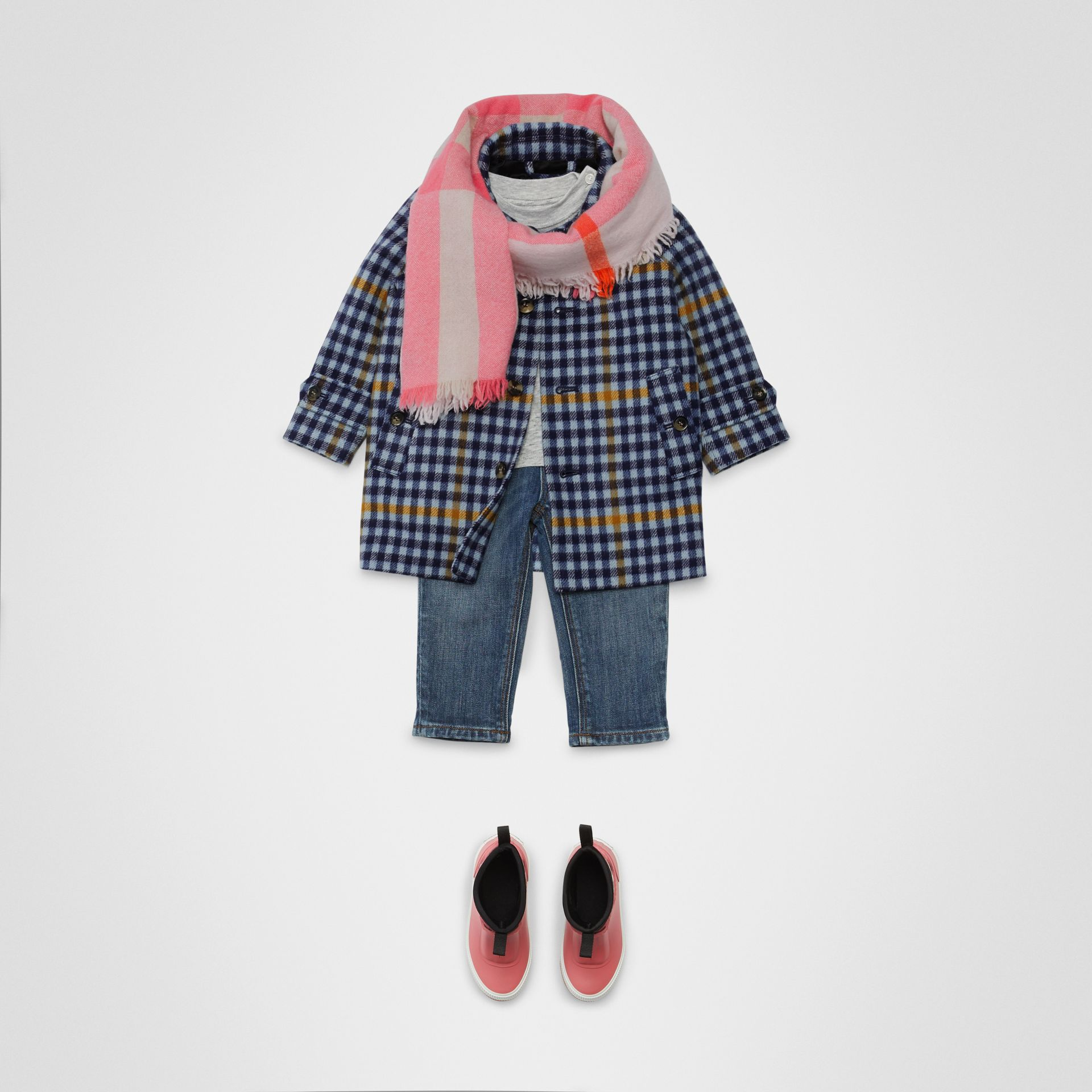Check Wool Car Coat in Canvas Blue - Children | Burberry Singapore - gallery image 2