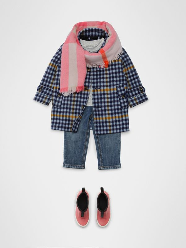 Check Wool Car Coat in Canvas Blue - Children | Burberry Hong Kong - cell image 2