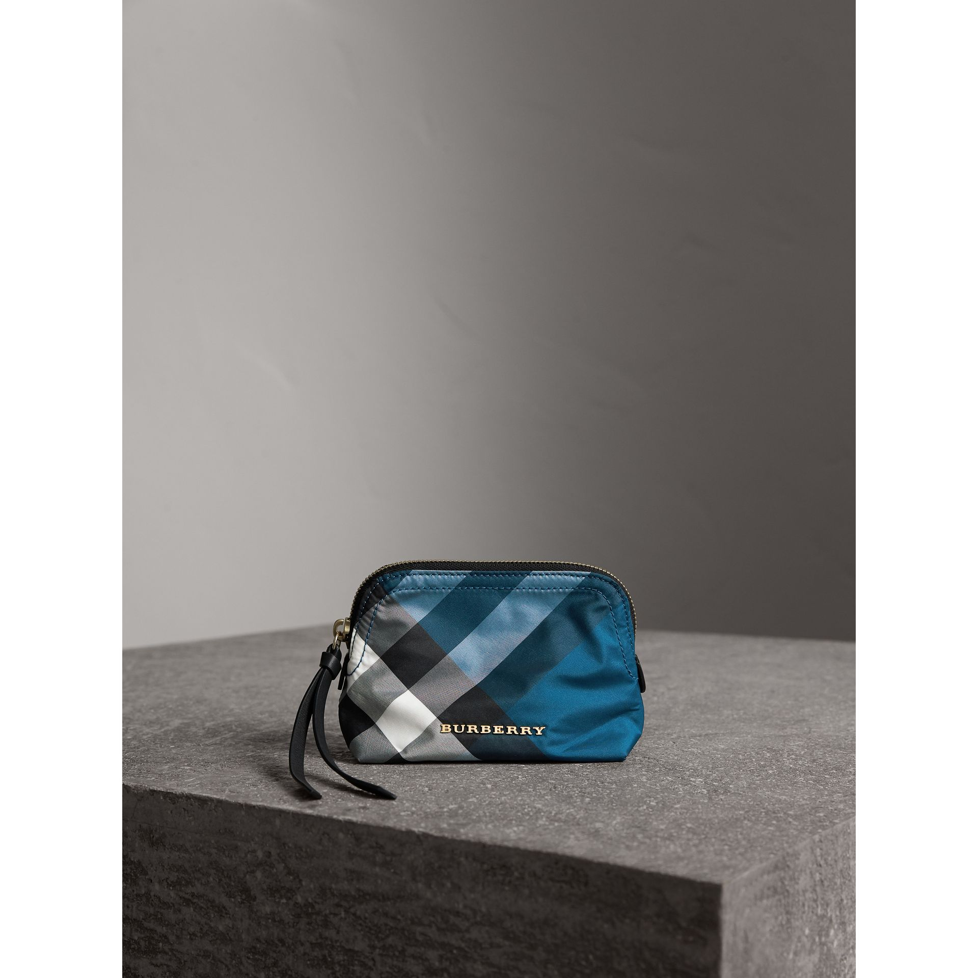 Small Zip-top Check Pouch in Marine Blue - Women | Burberry - gallery image 1