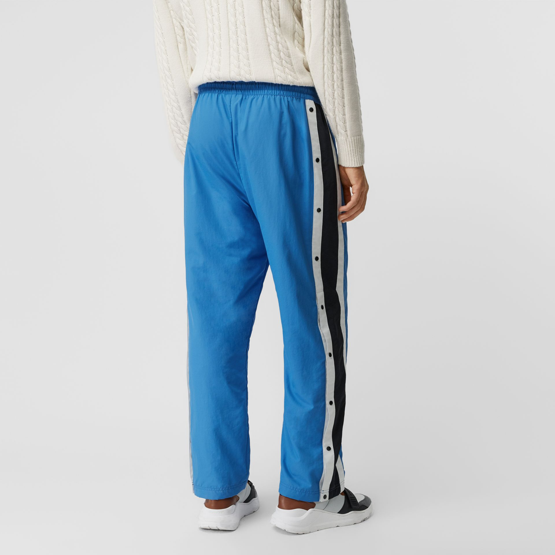 Varsity Stripe Jersey Trackpants in Bright Hydrangea - Men | Burberry - gallery image 2