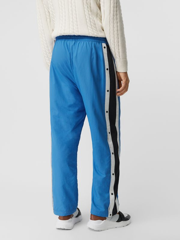 Varsity Stripe Jersey Trackpants in Bright Hydrangea - Men | Burberry Singapore - cell image 2