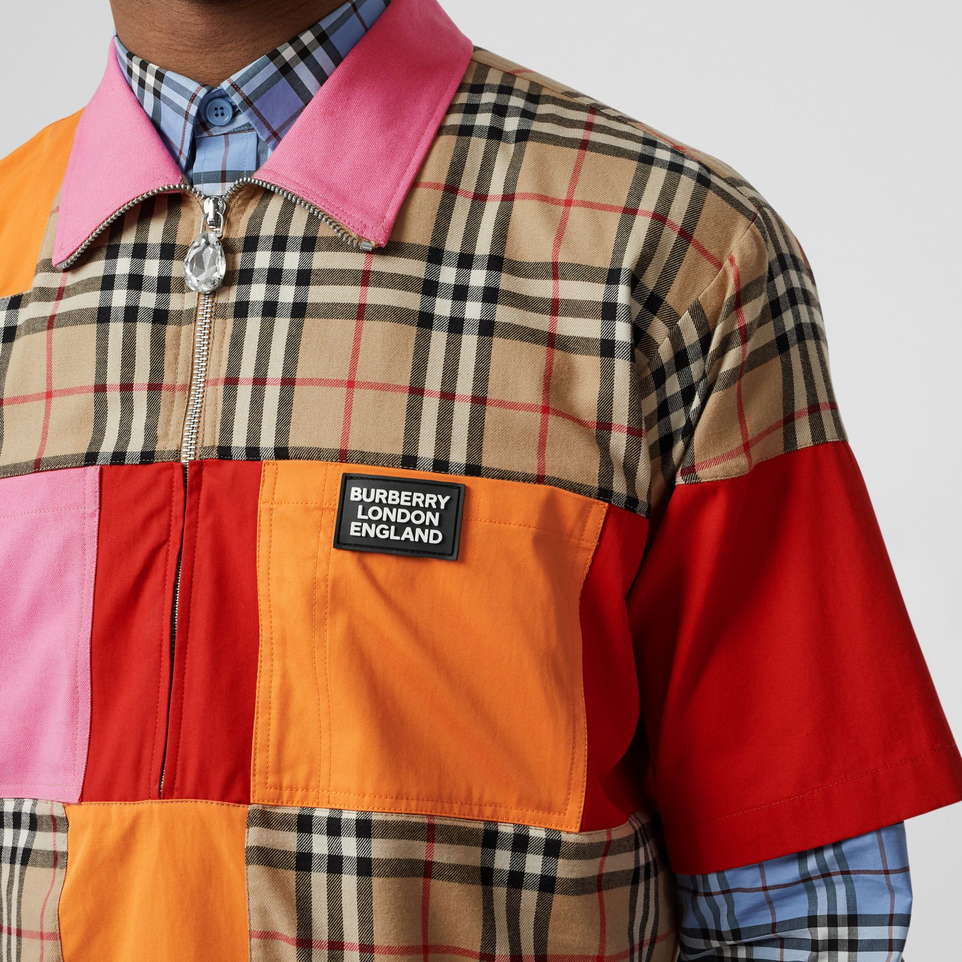 Short-sleeve Colour Block Vintage Check Cotton Shirt in Archive Beige - Men | Burberry United Kingdom - gallery image 1