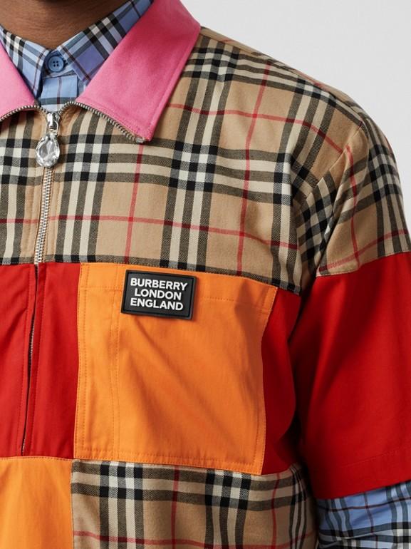Short-sleeve Colour Block Vintage Check Cotton Shirt in Archive Beige - Men | Burberry United Kingdom - cell image 1