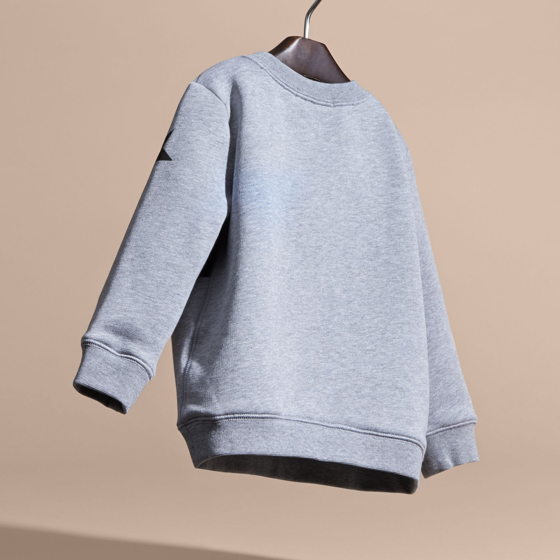 Mid grey melange Appliquéd Weather Graphic Jersey Sweatshirt - gallery image 4