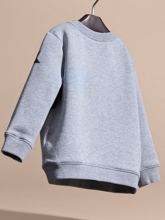 Mid grey melange Appliquéd Weather Graphic Jersey Sweatshirt - cell image 3