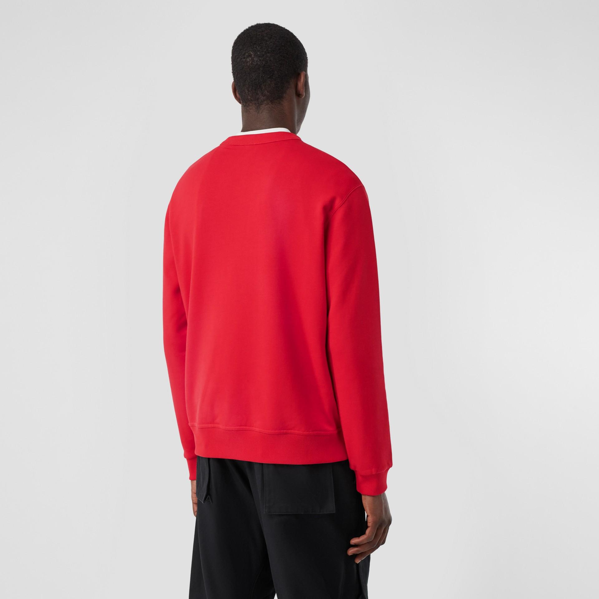 Monogram Motif Cotton Sweatshirt in Bright Red - Men | Burberry United Kingdom - gallery image 2