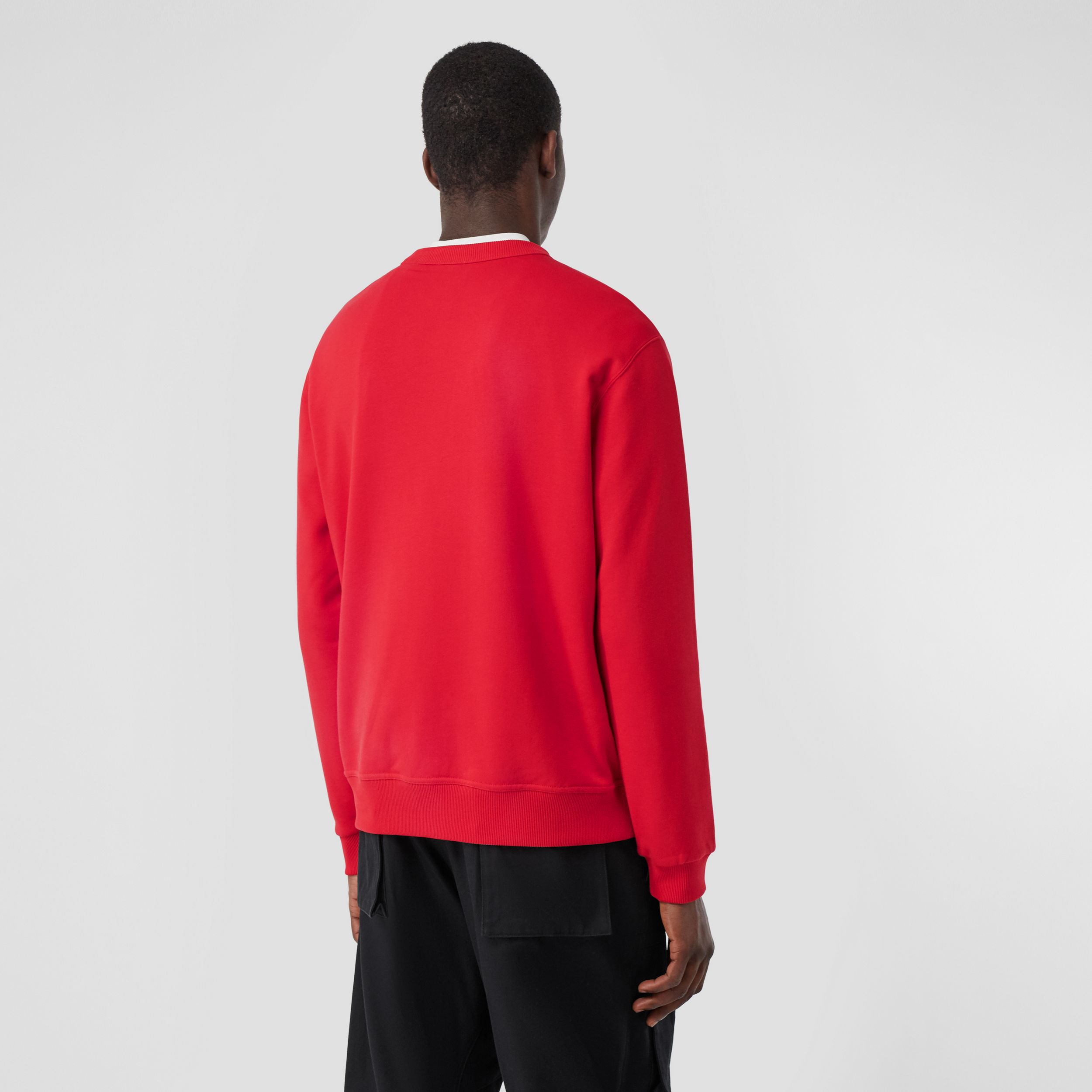 Monogram Motif Cotton Sweatshirt in Bright Red - Men | Burberry Australia - 3