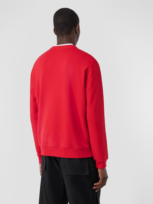 Monogram Motif Cotton Sweatshirt in Bright Red - Men | Burberry United Kingdom - cell image 2