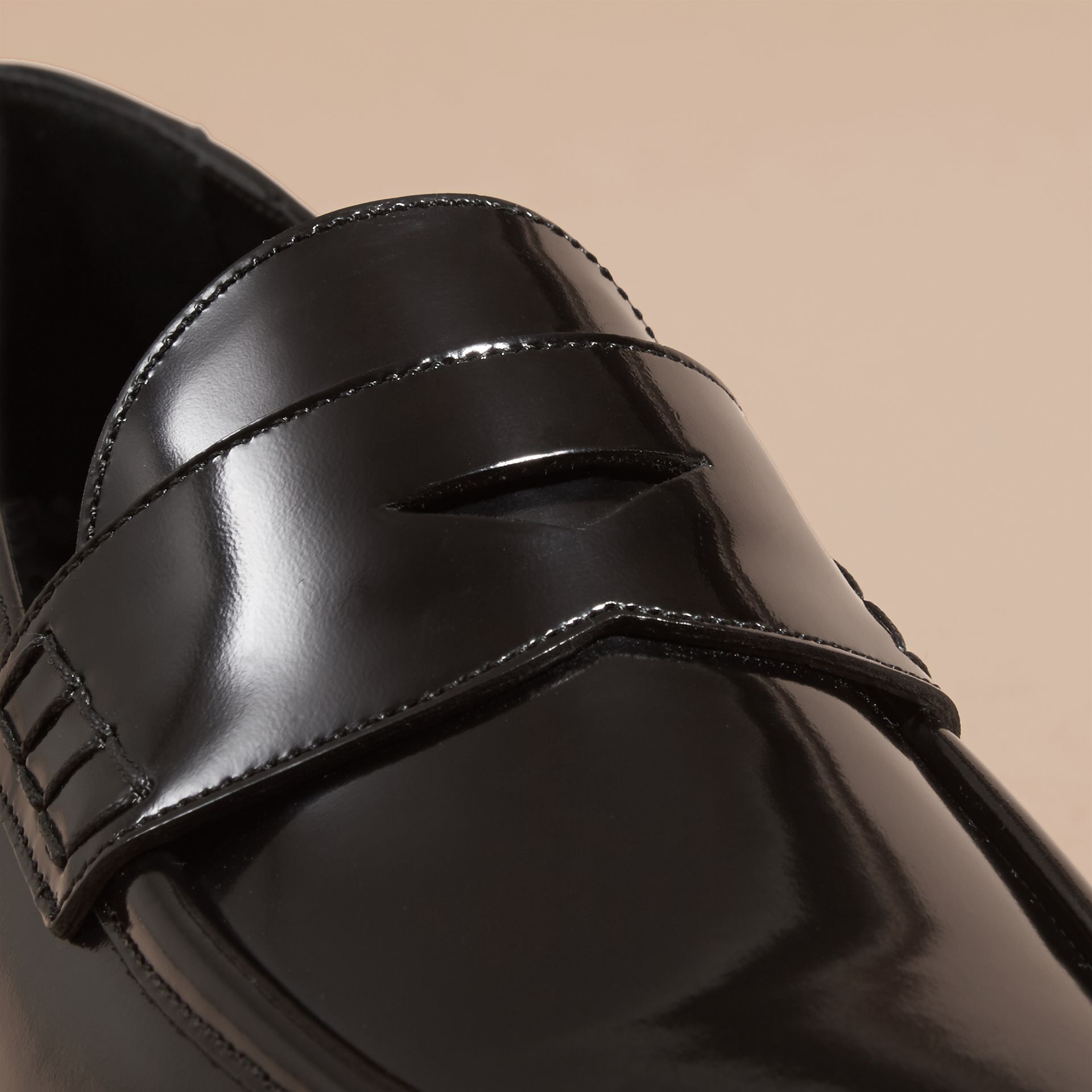 Black Polished Leather Loafers Black - gallery image 2