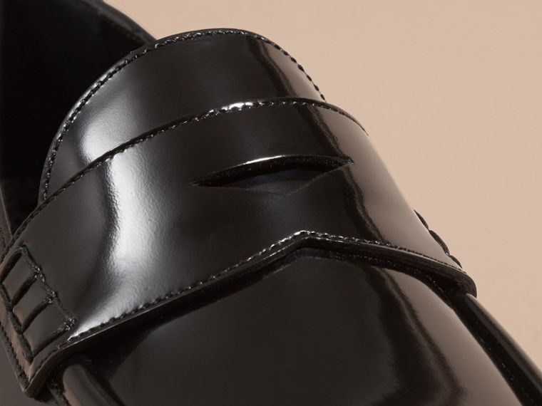 Black Polished Leather Loafers Black - cell image 1