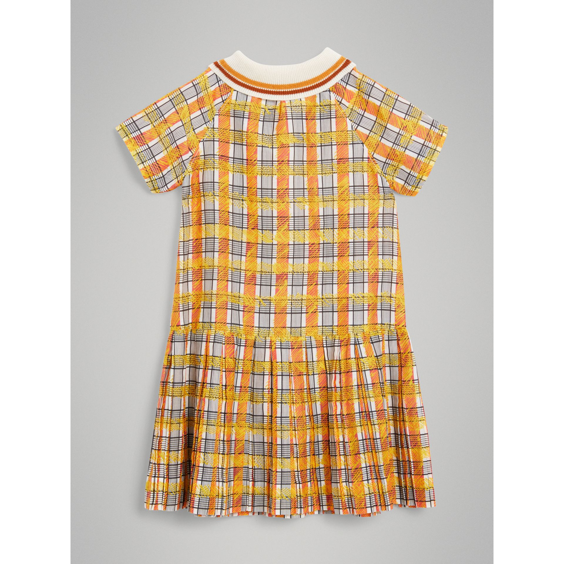 Scribble Check Collared Day Dress in Bright Yellow | Burberry - gallery image 3