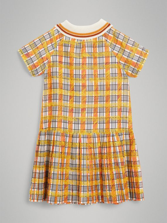 Scribble Check Collared Day Dress in Bright Yellow - Girl | Burberry - cell image 3