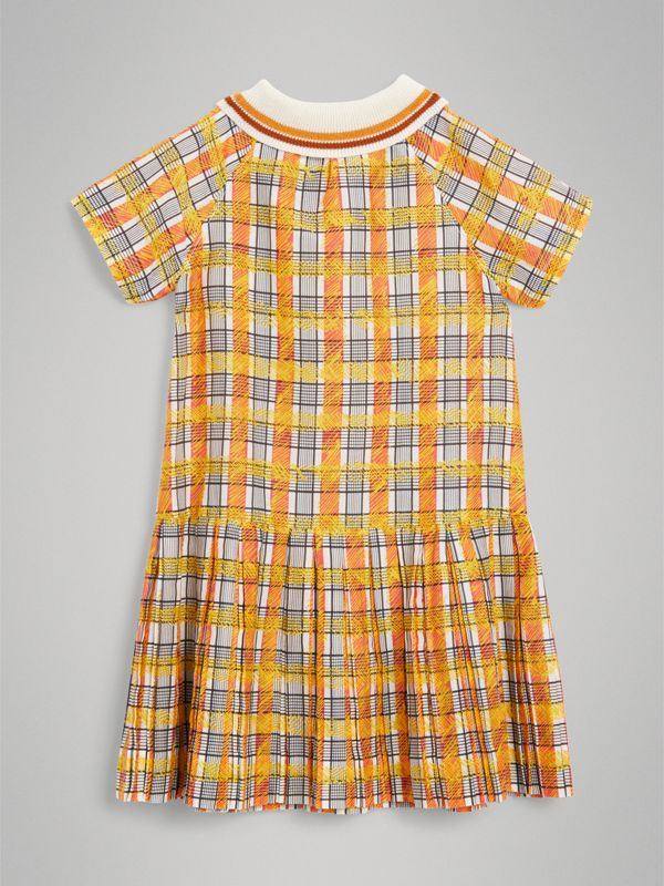 Scribble Check Collared Day Dress in Bright Yellow | Burberry United Kingdom - cell image 3