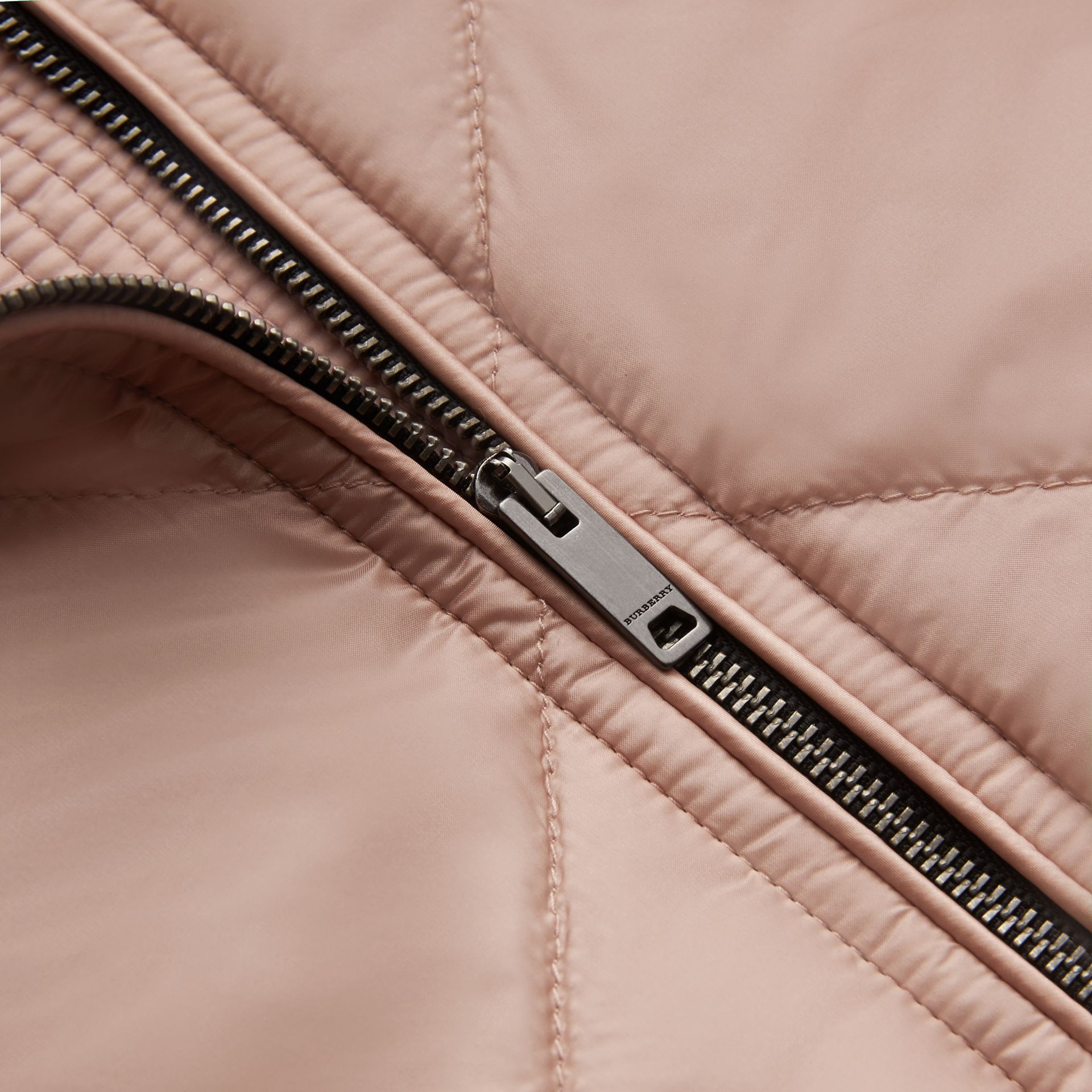 Collarless Diamond Quilted Lightweight Jacket in Nude - Women | Burberry - gallery image 2