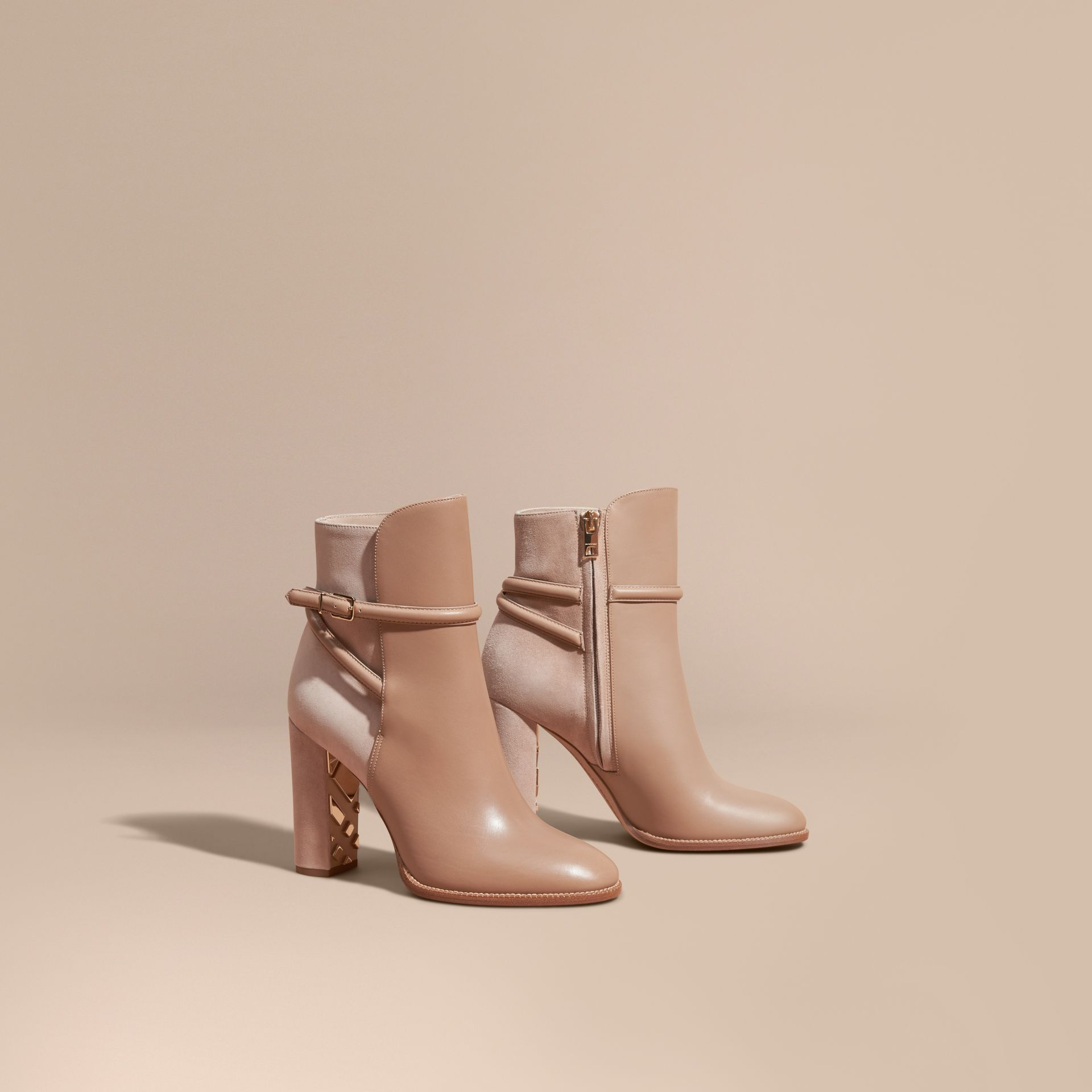 Light nude Strap Detail Leather and Suede Ankle Boots Light Nude - gallery image 1