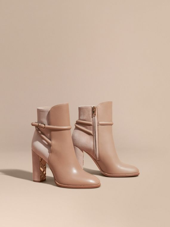 Strap Detail Leather and Suede Ankle Boots Light Nude