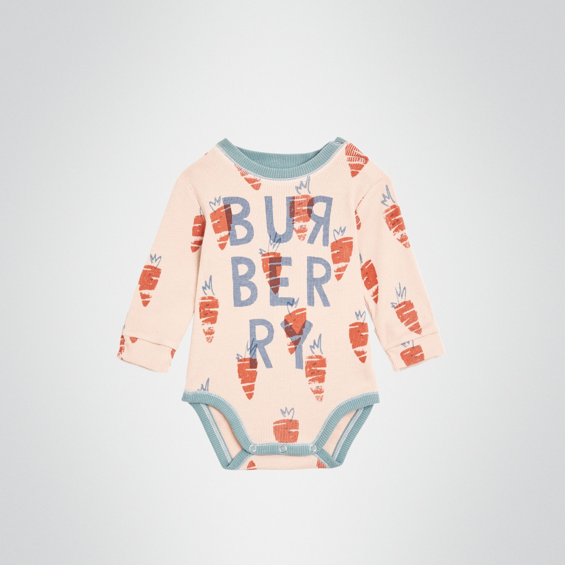 Carrot Print Cotton Bodysuit in Stone - Children | Burberry United Kingdom - gallery image 0