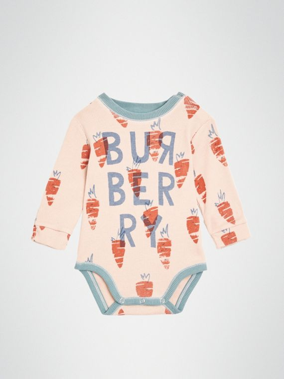 Carrot Print Cotton Bodysuit in Stone