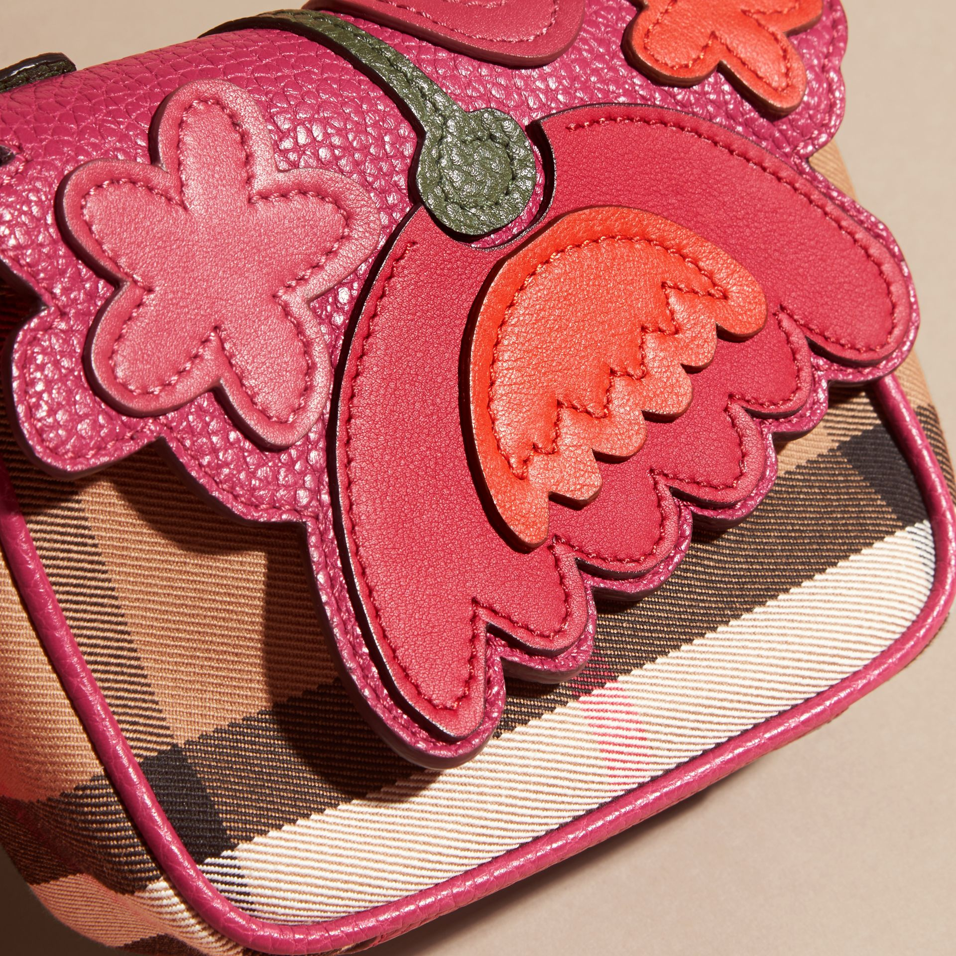Multicolour Canvas Check and Floral Leather Crossbody Bag - gallery image 2