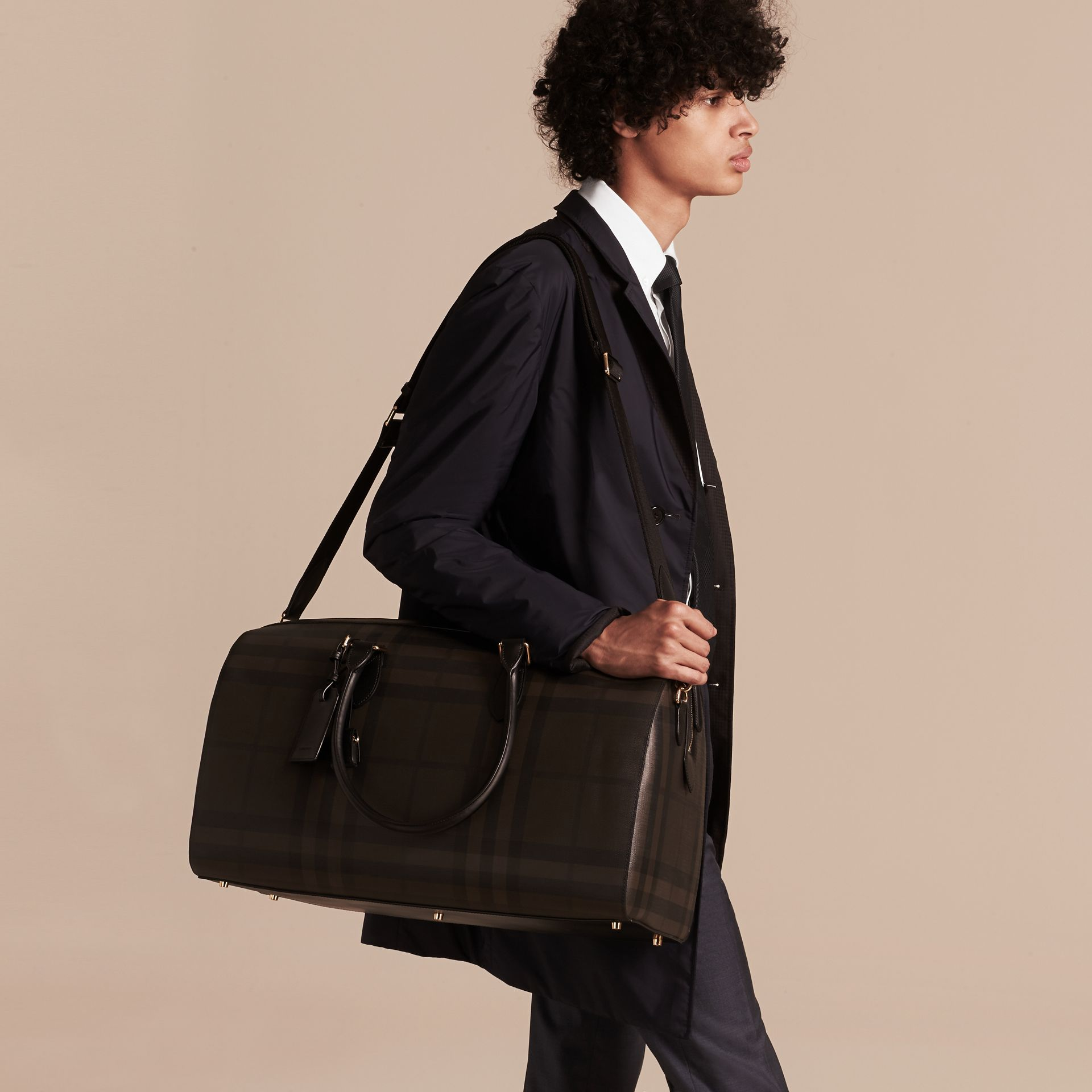Leather Trim London Check Holdall in Chocolate/black - Men | Burberry Canada - gallery image 3
