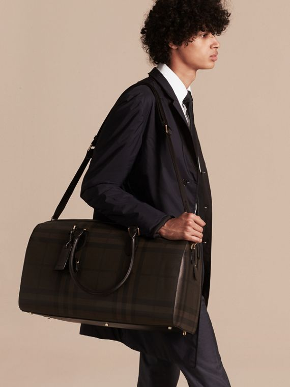 Leather Trim London Check Holdall in Chocolate/black - Men | Burberry - cell image 2