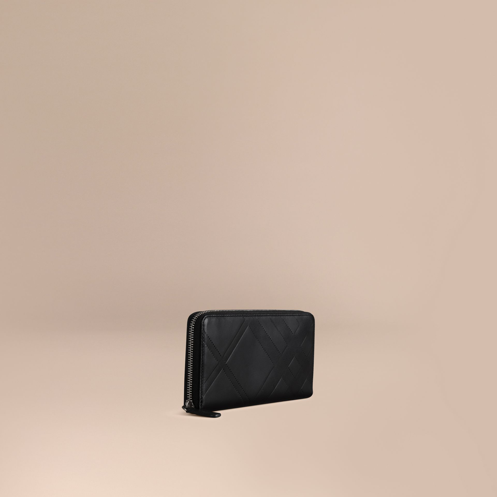 Black Check-embossed Leather Ziparound Wallet Black - gallery image 1