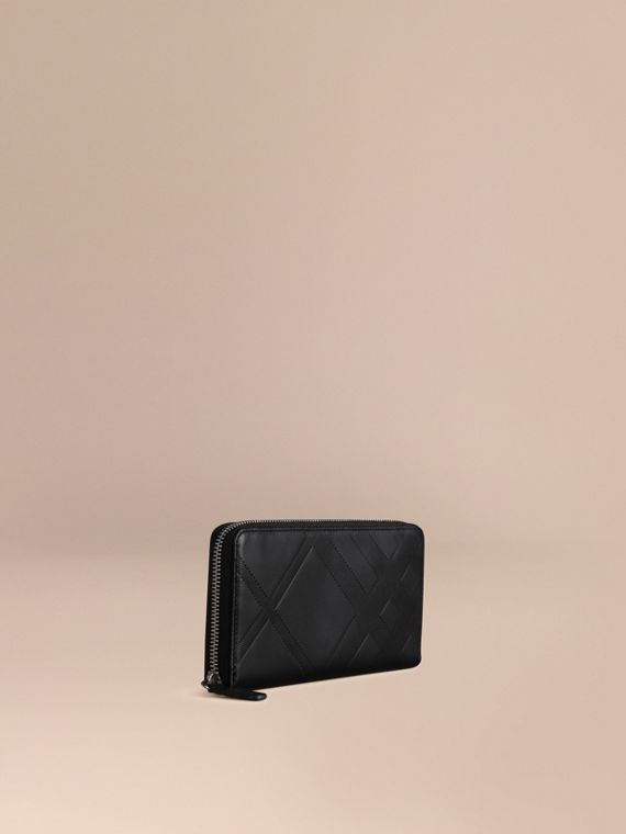Check-embossed Leather Ziparound Wallet Black