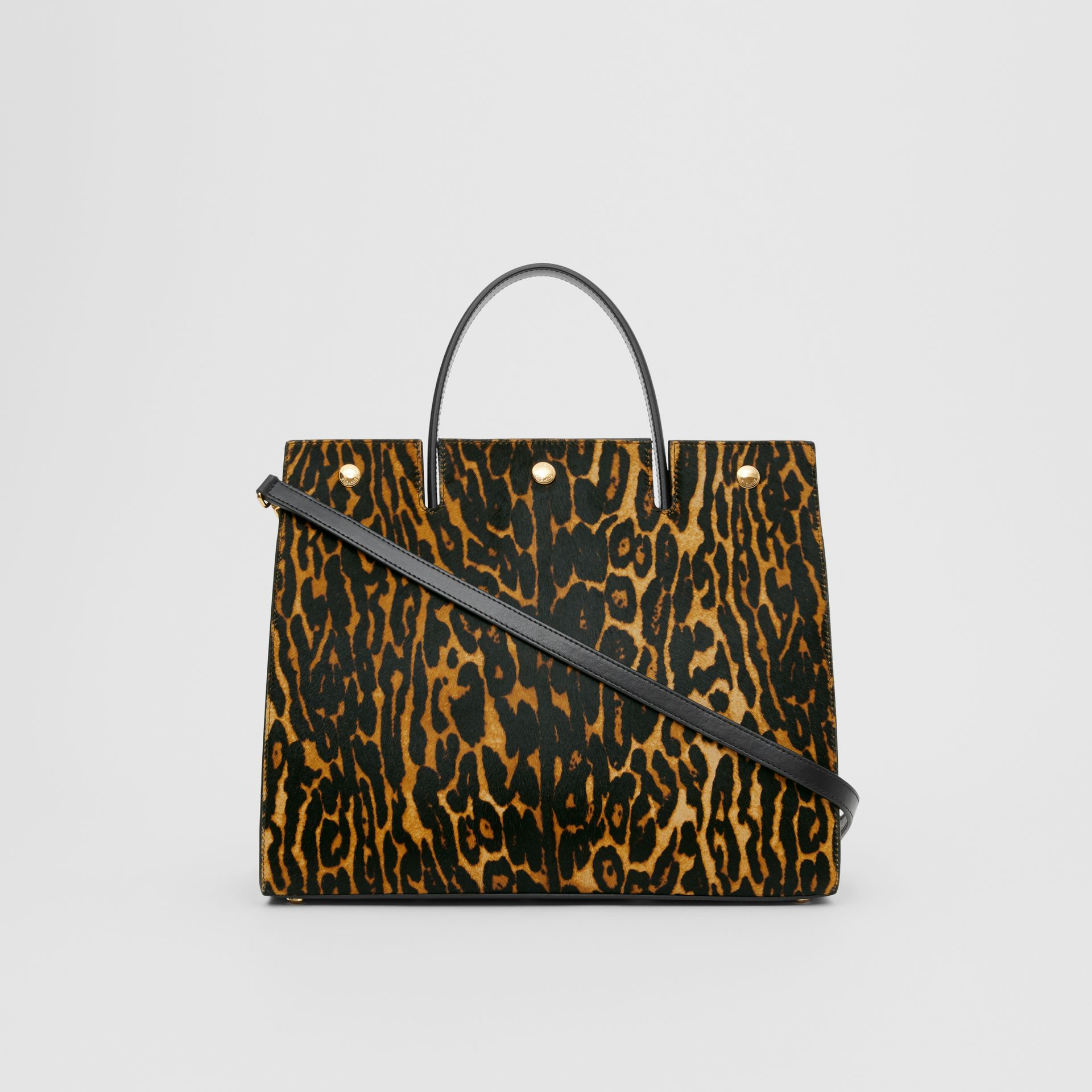Medium Leopard Print Calf Hair and Leather Title Bag in Black - Women | Burberry United States - gallery image 5